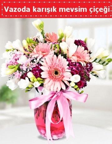 Vazoda karışık mevsim çiçeği  Siirt online çiçekçi , çiçek siparişi