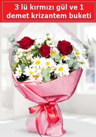 3 adet kırmızı gül ve krizantem buketi  Siirt çiçek servisi , çiçekçi adresleri