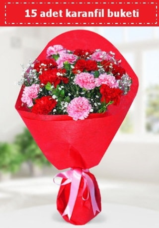 15 adet karanfilden hazırlanmış buket  Siirt çiçekçi mağazası