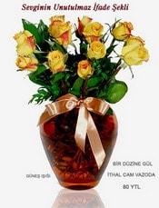 Siirt çiçek gönderme  mika yada Cam vazoda 12 adet sari gül